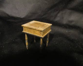 Miniature Colonial game table. Non-removable box of checkers in the well.