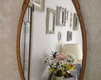 French Brocante Mirror Ornate Wall Mirror Gold Gilt Mirror French Vintage Oval Wall Mirror Antique Wall Mirror