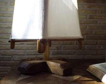 Antique olive wood table lamp with shade in white cotton