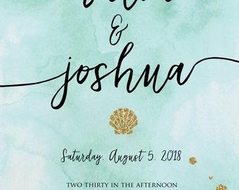 Watercolor Sea-Theme Wedding Invitation