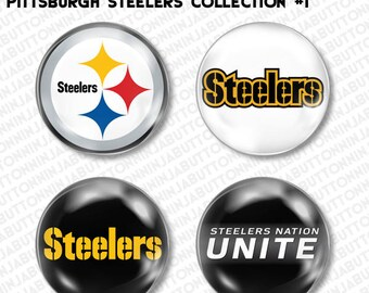 Set of 4 Mini Pins / Buttons - PITTSBURGH STEELERS pa pennsylvania football nfl (choose your style!)
