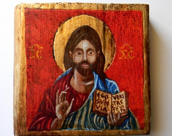 Christ Pantocrator hand painted