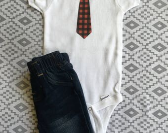 Plaid Tie Onesie //  Funny Baby Boy Onesie  // Baby Onesie // Funny Baby shirt // Funny Baby Onesie // funny boy Onesie