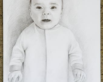 Portrait of a baby,child,kid.Portrait by pencil.Graphic.Original drawing,family drawing,wedding drawing,pet drawing.