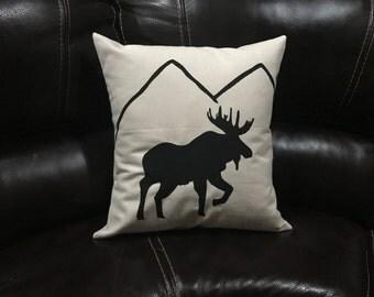 Mountain Moose Pillow Decorative Handmade Throw Pillow Outdoors Gift Home Decor