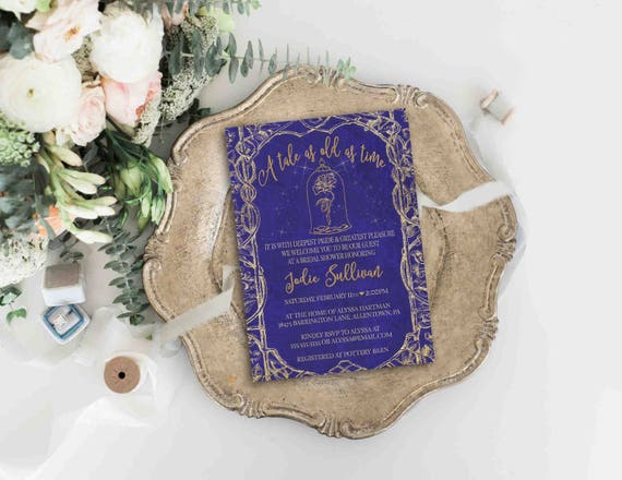 Beauty And The Beast Themed Wedding Invitations: Beauty And The Beast Invitation Disney Wedding Bridal Shower