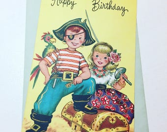 vintage happy birthday card // pirates // parrot // treasure chest // eye patch // colorful