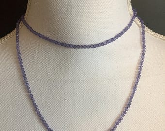Amethyst gemstone knotted necklace or bracelet; gift for her
