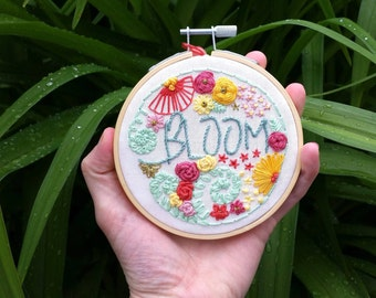 Bloom Floral Embroidery Hoop, Yellow, Red, Pink, Coral, Green, Gold