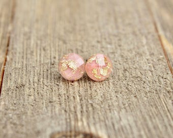 Light Pink Gold Leaf Earrings