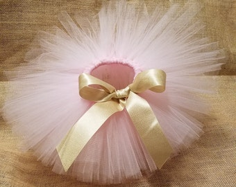 Ribbon Tutu, Girls Tutu, Newborn Tutu, Pink & Gold Tutu, Birthday Tutu, Toddler Tutu, Bow Tutu, Glitter Tutu, Baby Tutu, Customized Tutu
