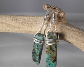 African Green Turquoise Wire-Wrapped Earrings / Authentic Stone Jewelry