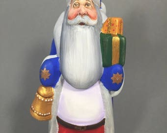 """Wooden Russian Santa (Father Frost, Ded Moroz) Blue 6.7"""" Hand carved / painted Christmas decoration Collectible"""