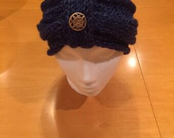 Handmade Navy Blue Knit Head Wrap