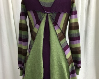 Green and Purple Fairy Coat M Upcycled Recycled Repurposed Natural Fiber Clothing Sweatercoat Bohemian Gypsy Folk Fantasy Attire Medium