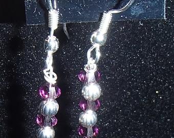 Purple and Silver Earrings