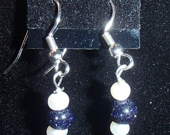 Blue goldstone and white earrings