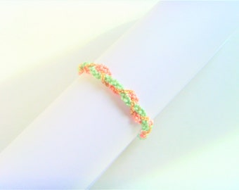 Pastel Green salmon golden chain braided bracelet