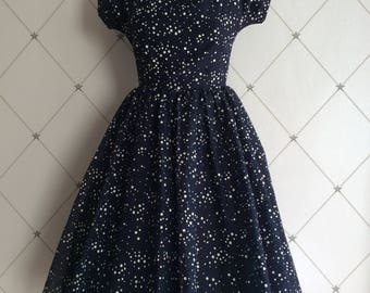 Chic Fifties Navy and White Spotty Print Dress.....
