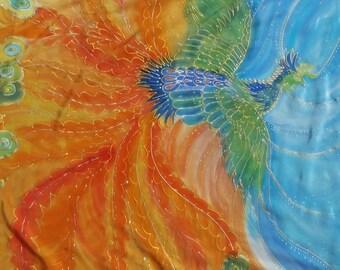 Silk painting.  Crêpe de chine cloth 'Phönix' 90 x 90 cm. unique.