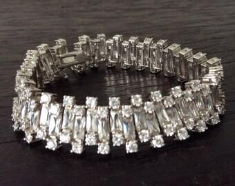 Stunning Sterling Bracelet  / Sterling Silver /  Cubic Zirconia Crystals / Wedding / Sparkle / Stones / Hallmarked /