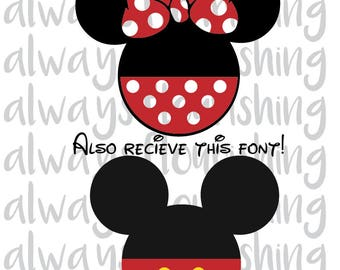 Mickey and Minnie Mouse Download-svg,dxf,png, and FONT!