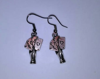 Realistic Hand Playing Cards Earrings
