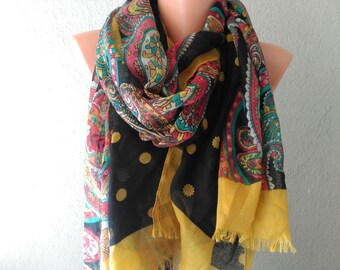 mustard scarf shawl polka dots crochet scarf unique scarves womens scarves womens accessories gift for girlfriend gift for wife mom
