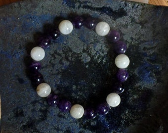 Bracelet peaceful light perception - Amethyst, Moonstone