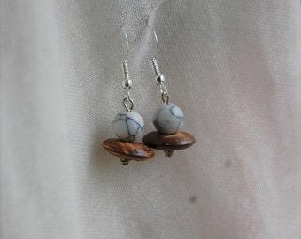 Howlite and wood earrings