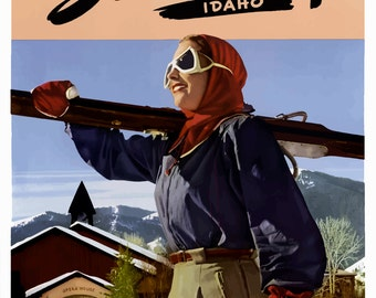 "Sun Valley, Idaho Vintage Travel Poster Art Print 11"" x 17"" Reprint"