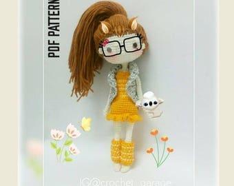 Crochet Doll Pattern, Amigurumi Doll Pattern, Elle-The Superstars