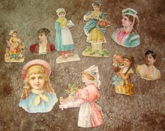 Lot of 9 Vintage Victorian Scraps (Ladies and Girls)