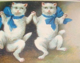 SALE Vintage Cats Dancing Embossed Postcard (Blue Ribbons)