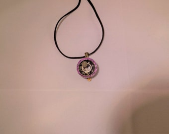 Steampunk Amethyst Skate bearing necklace
