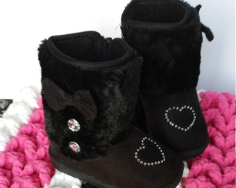 BLING Rhinestone Heart Embellished Ugg-Style Ultra Suede Baby Boots, Toddler Size 7