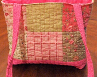 Bright Pink Floral Tote Bag