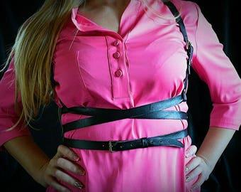 FREE SHIPPING Black genuine leather Harness belt / Extravagant stripe vest / Brutal accessory / Black genuine leather harness/ Gifts for her