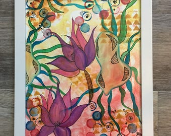 Zen Lillies- Original , one of a kind mixed media painting .
