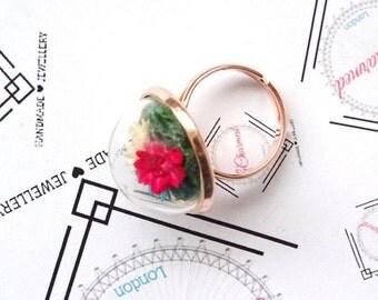 Real flowers ring, terrarium ring, rose gold terrarium,real moss,romantic jewellery ,glass vial terrarium, nature preserved, glass ring