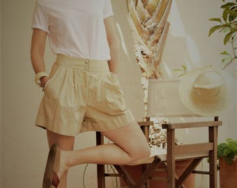 Shorts, cotton mix // shorts / summer shorts / cotton shorts / beige shorts / sand shorts / pocket shorts