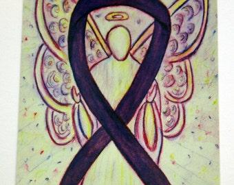 Purple Awareness Ribbon Guardian Angel Art Postcards (10 Pack)