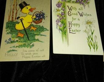 Reduced -Vintage Easter Greetings Postcards -Postcard 1920's Lot of 2