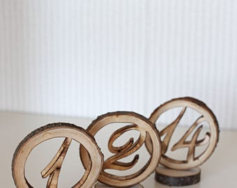 Wedding table numbers, rustic table numbers, wedding centerpiece, rustic centerpiece, woodland wedding, rustic weding decor, table number
