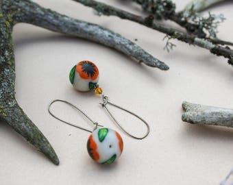 FREE SHIPPING Poppy earrings Orange earrings Flower earrings Ombre earrings Summer earrings Floral earrings Romantic earrings Gift for her