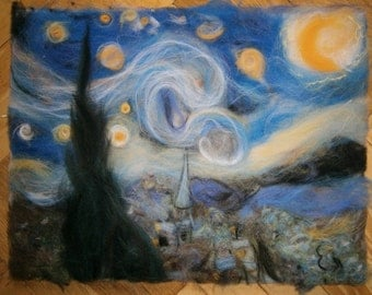 Starry night by Van Gogh reproduction made from wool.Beautiful merino wool picture.Best present for art lovers.Framed wall art.Felt painting