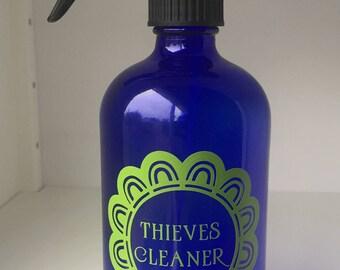 Blue Glass Thieves Cleaner Spray Bottle Flower Decal Spray - Vinyl stickers for glass bottles
