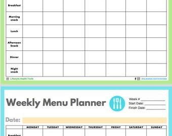 Menu Planner Template   Printable   Planificador de Menu (English   Ingles)   Health & Nutrition   Salud y Nutrición