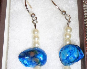 White Pearl & Blue Malachite Earrings
