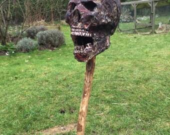 skull prop; film prop, halloween, horror, burnt/rotting, zombie
